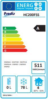 HC201FSS 200 Ltr Stainless Steel Single Door Undercounter Freezer Energy Rating