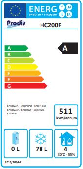 HC201F 200 Ltr Single Door Undercounter Freezer Energy Rating