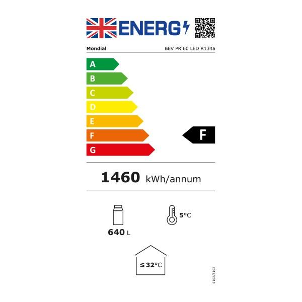 BEVPR60 600 Ltr Single Glass Door Display Fridge - Graded Energy Rating