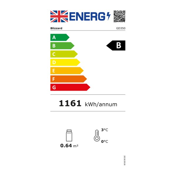 GD350 350 Ltr Glass Door Display Fridge - Graded Energy Rating
