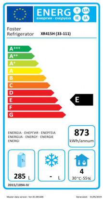 Xtra XR415H (33-111) 410 Ltr Stainless Steel Single Door Upright Fridge Energy Rating