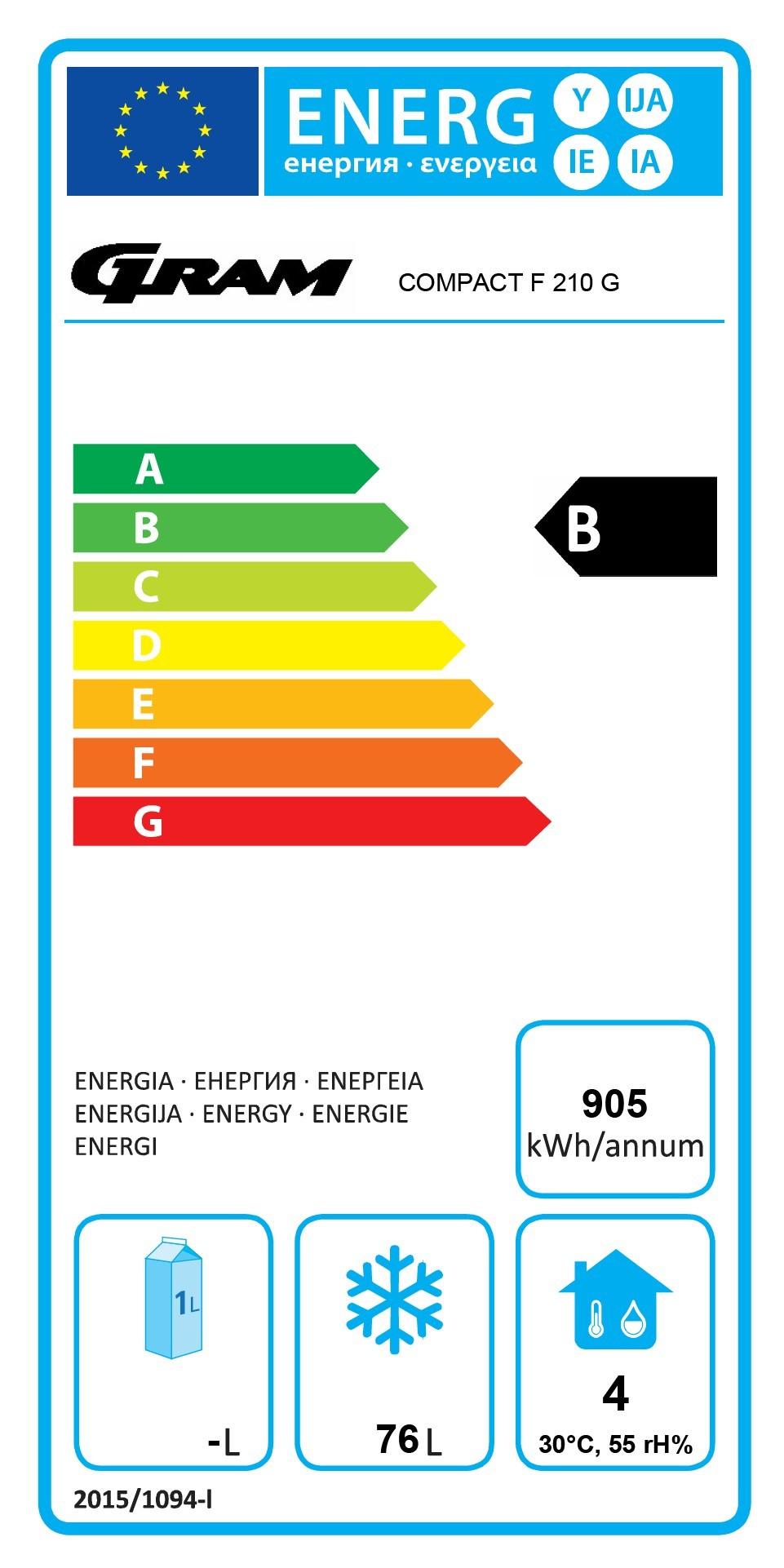COMPACT F 210 LG 3W 125 Ltr Single Door Undercounter Freezer Energy Rating