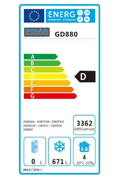 GD880 960 Ltr Upright Freezer Energy Rating