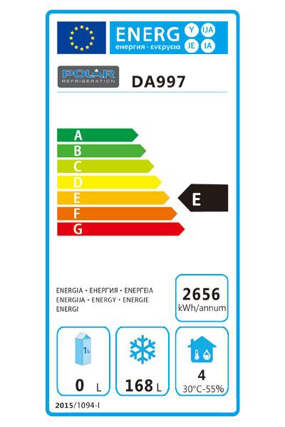 DA997 6 x 1/1GN Double Drawer Counter Fridge/Freezer Energy Rating