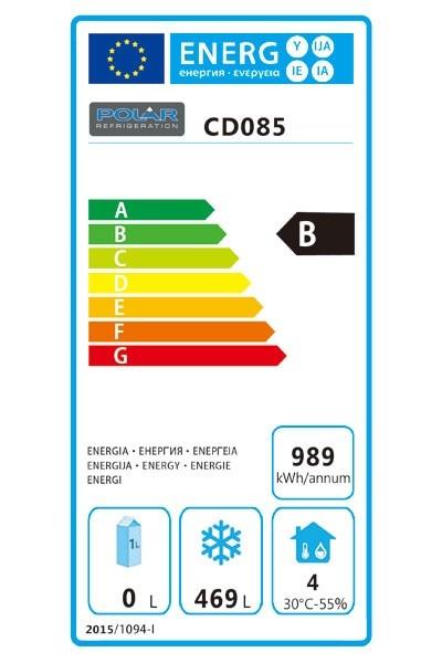 CD085 600 Ltr Single Door Upright Freezer Energy Rating
