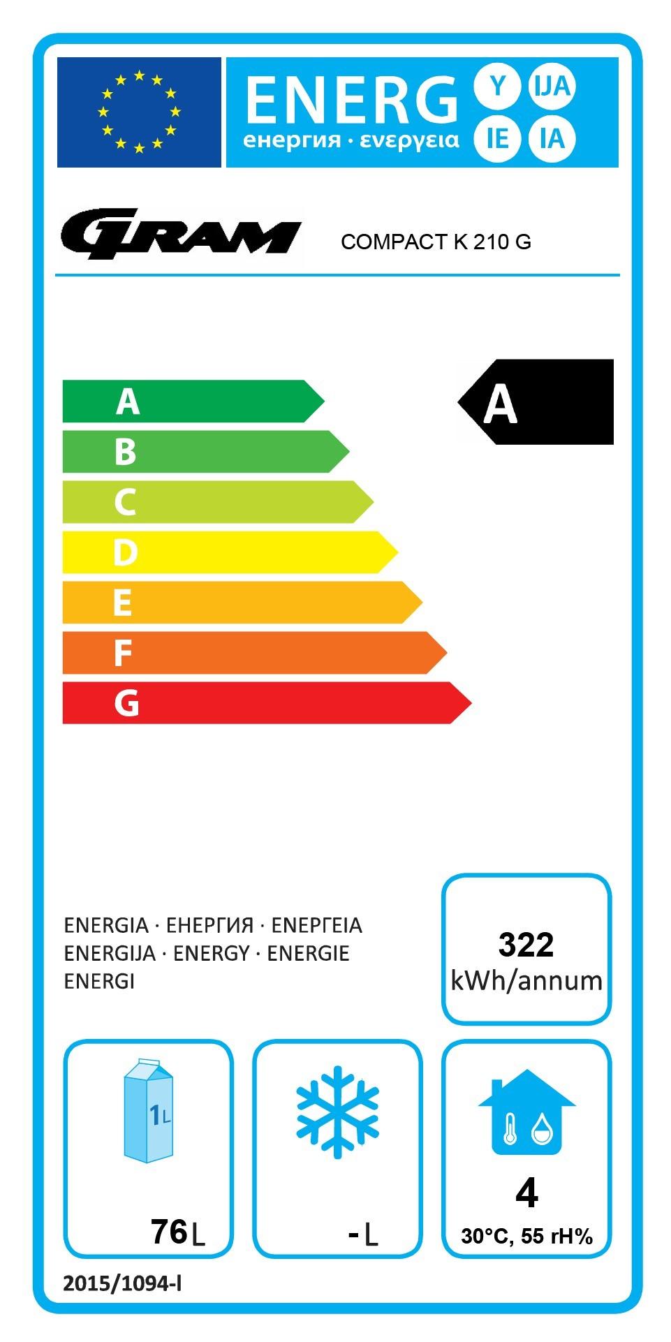 COMPACT K 210 RG 3N 125 Ltr Stainless Steel Undercounter Fridge Energy Rating