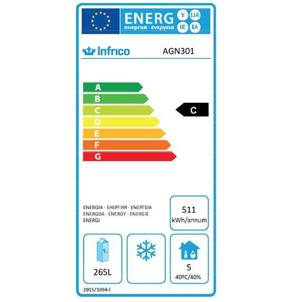 AGN301 325 Ltr Single Door Upright Fridge Energy Rating
