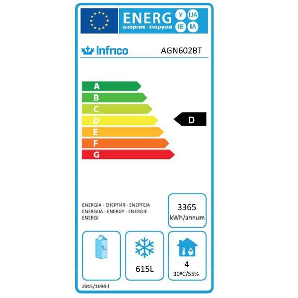 AGN602BT 745 Ltr Double Door Upright Freezer Energy Rating