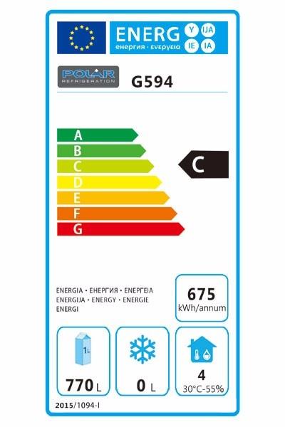 G594 1200 Ltr Upright Double Door Stainless Steel Fridge Energy Rating