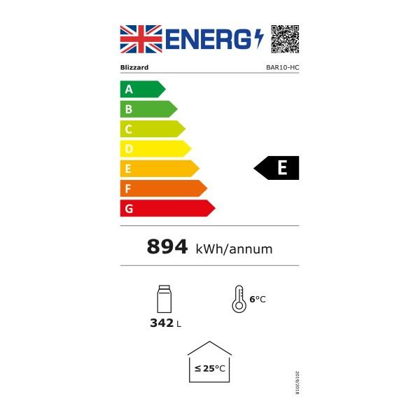 BAR10 260 Ltr Single Door Upright Back Bar Bottle Cooler - Graded Energy Rating