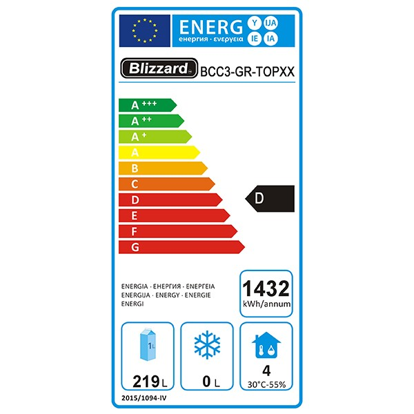 BCC3-GR-TOP 330 Ltr 3 Door Refrigerated Prep Counter w/ Granite Worktop Energy Rating
