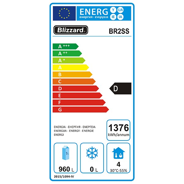 BR2SS 1300 Ltr Double Door Gastronorm Upright Fridge Energy Rating