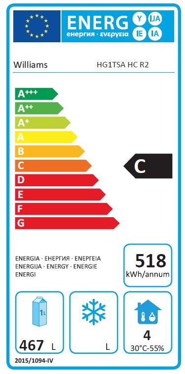 Garnet HG1T-SA 620 Ltr Single Door Upright Gastro Fridge - G389 Energy Rating