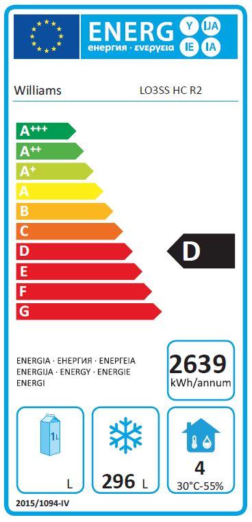 Opal LO3U-SS 545 Ltr 3 Door Freezer Counter - G455 Energy Rating