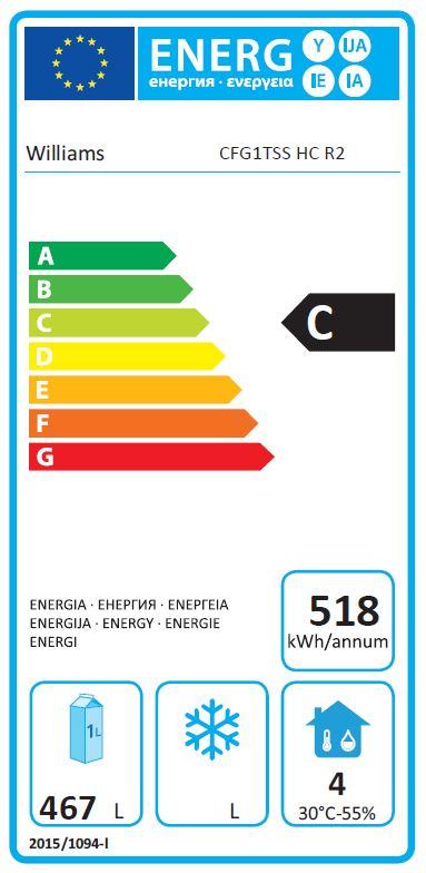 Garnet CFG1T-SA 620 Ltr Single Door Upright Chilled Food Gastro Fridge Energy Rating