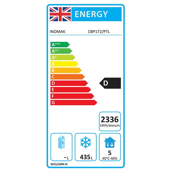 CBP172 654 Ltr Single Door 2/1 Gastro Upright Freezer Energy Rating