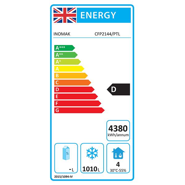 CFP2144 1432 Ltr Double Door 2/1 Gastro Freezer Energy Rating