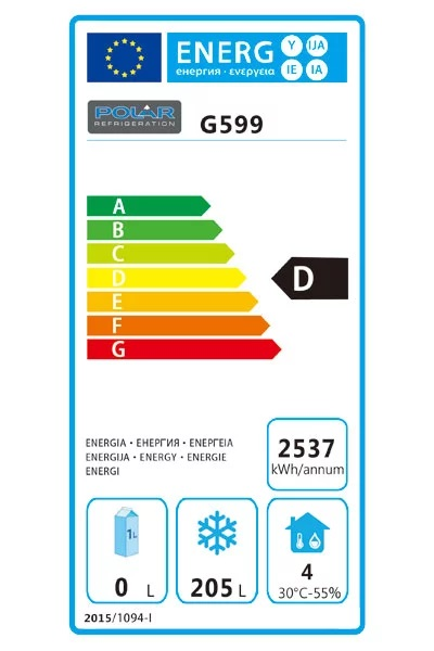 G599 282 Ltr 2 Door Freezer Prep Counter Energy Rating