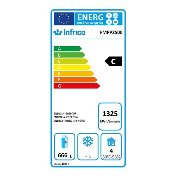 FMPP2500 695 Ltr 3 Door Refrigerated Prep Counter Energy Rating