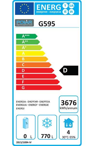 G595 1200 Litre Double Door Freezer Energy Rating