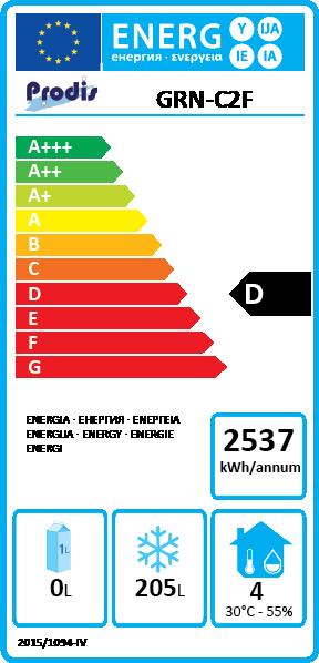 GRN-C2F 283 Litre Stainless Steel 2 Door Freezer Prep Counter Energy Rating