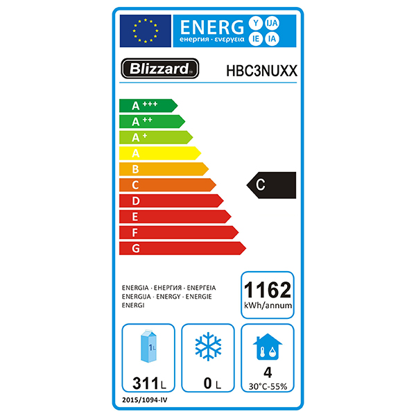 HBC3NU 417 Ltr 1/1 GN 3 Door Refrigerated Prep Counter Energy Rating