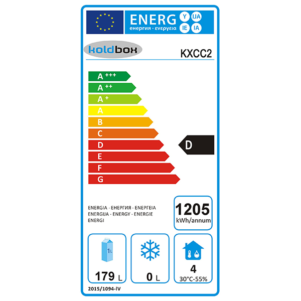 KXCC2 Compact 240 Ltr 2 Door Refrigerated Prep Counter Energy Rating
