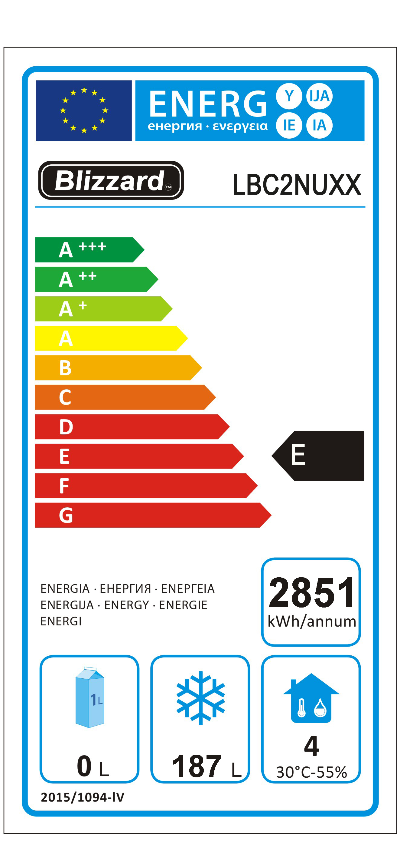 LBC2NU 282 Ltr 1/1 GN 2 Door Freezer Prep Counter Energy Rating