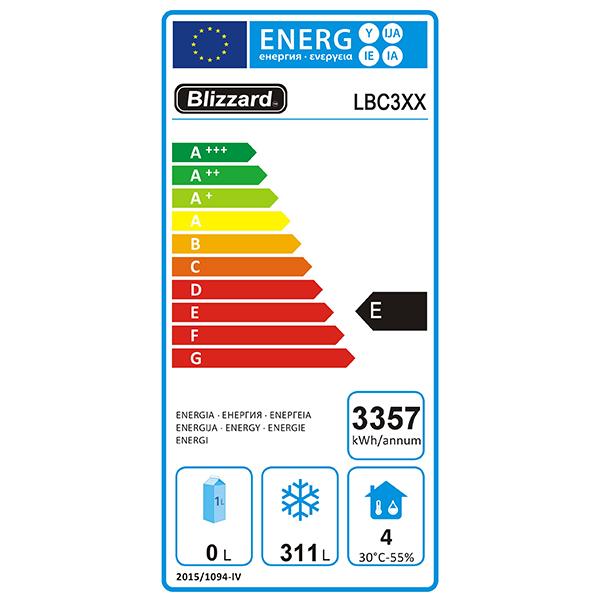 LBC3 465 Ltr 3 Door Freezer Prep Counter With Upstand Energy Rating