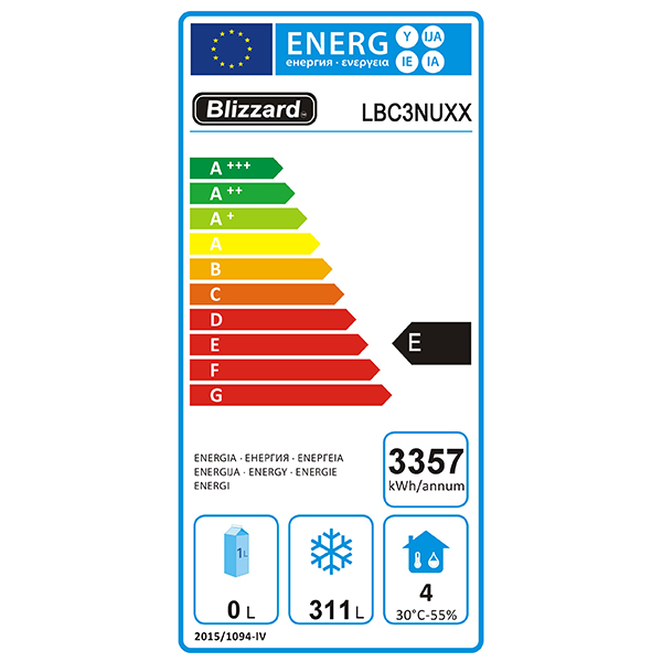 LBC3NU 417 Ltr 1/1 GN 3 Door Freezer Prep Counter Energy Rating