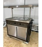 MSB9 990mm Wide Bain Marie Top Mobile Servery w/ Heated Gantry & Rodded Tray Slide