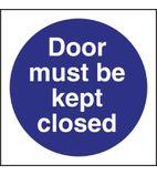 L835 Door Must Be Kept Closed Sign