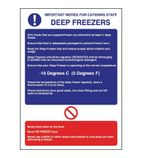 W195 Deep Freezer Guidelines Sign